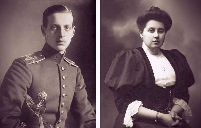 Photos of Grand Duke Dmitri Pavlovich in tsarist military uniform and Anna Vyrubova with her dark hair in a chignon and wearing a black dress over a white blouse.