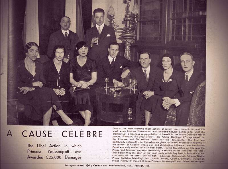 Screenshot of The Sphere magazine's article about Irina Yusupova's victory, showing her and Felix with friends in the solicitor's office.