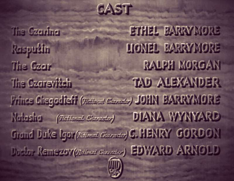 """Screenshot of the cast listing for the movie, with the notation """"fictional character"""" added after Prince Chegodieff, Natasha, and two additional characters."""