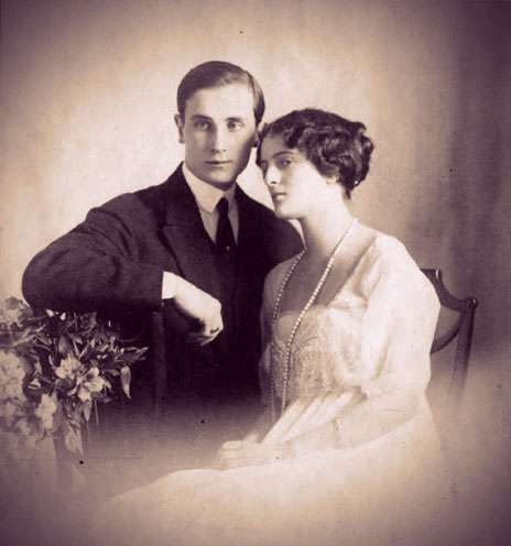 Felix Yusupov and Irina Alexandrovna seated together in an engagement portrait.